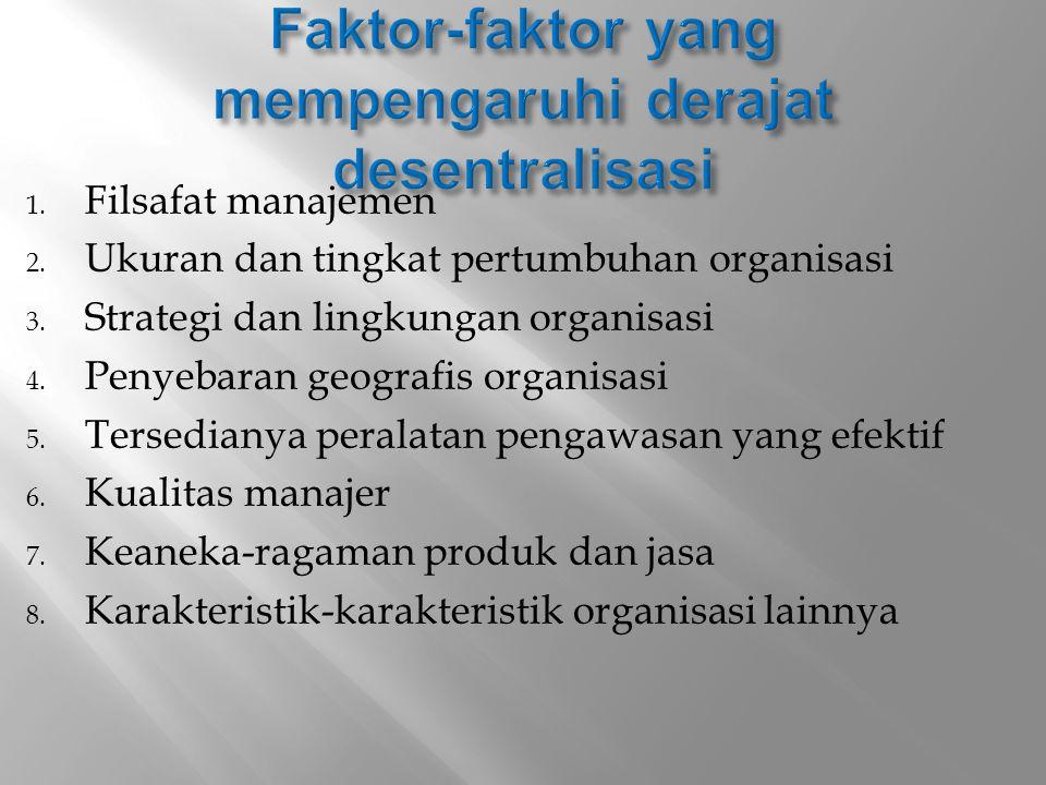 1. Filsafat manajemen 2. Ukuran dan tingkat pertumbuhan organisasi 3. Strategi dan lingkungan organisasi 4. Penyebaran geografis organisasi 5. Tersedi