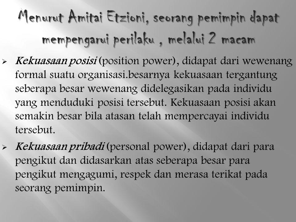  Kekuasaan posisi (position power), didapat dari wewenang formal suatu organisasi.besarnya kekuasaan tergantung seberapa besar wewenang didelegasikan