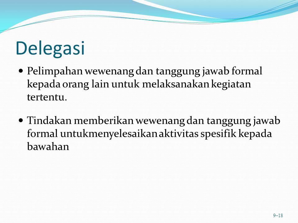 Delegasi Pelimpahan wewenang dan tanggung jawab formal kepada orang lain untuk melaksanakan kegiatan tertentu. Tindakan memberikan wewenang dan tanggu