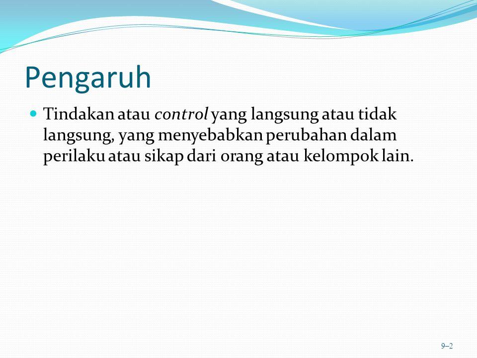 Pengaruh Tindakan atau control yang langsung atau tidak langsung, yang menyebabkan perubahan dalam perilaku atau sikap dari orang atau kelompok lain.