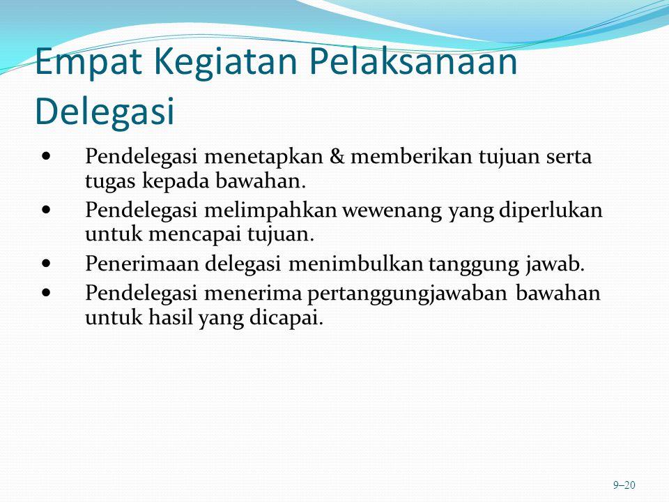 Empat Kegiatan Pelaksanaan Delegasi Pendelegasi menetapkan & memberikan tujuan serta tugas kepada bawahan. Pendelegasi melimpahkan wewenang yang diper