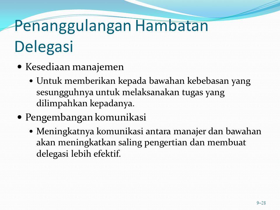 Penanggulangan Hambatan Delegasi Kesediaan manajemen Untuk memberikan kepada bawahan kebebasan yang sesungguhnya untuk melaksanakan tugas yang dilimpa