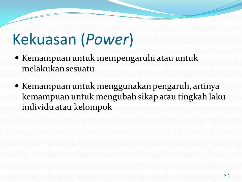 Kekuasan (Power) Kemampuan untuk mempengaruhi atau untuk melakukan sesuatu Kemampuan untuk menggunakan pengaruh, artinya kemampuan untuk mengubah sika
