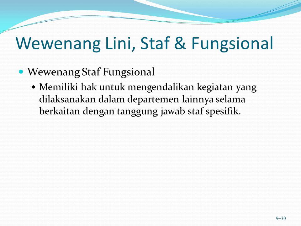 Wewenang Lini, Staf & Fungsional Wewenang Staf Fungsional Memiliki hak untuk mengendalikan kegiatan yang dilaksanakan dalam departemen lainnya selama