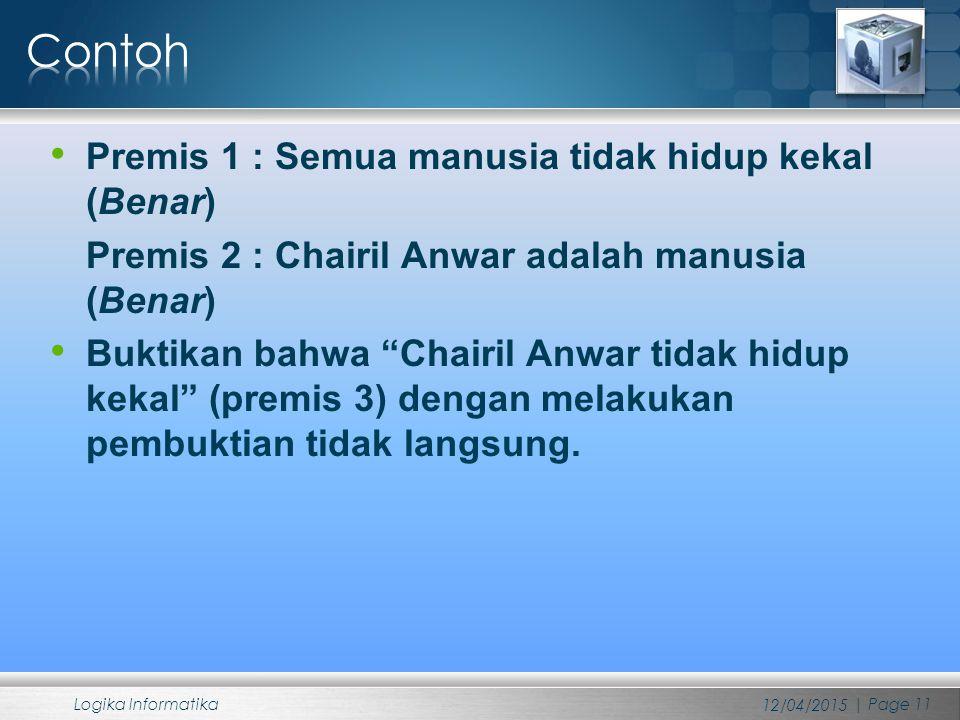"""Premis 1 : Semua manusia tidak hidup kekal (Benar) Premis 2 : Chairil Anwar adalah manusia (Benar) Buktikan bahwa """"Chairil Anwar tidak hidup kekal"""" (p"""