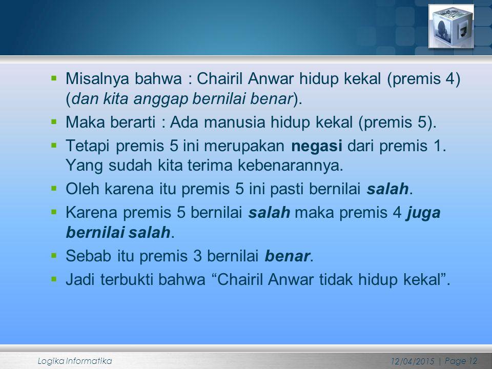  Misalnya bahwa : Chairil Anwar hidup kekal (premis 4) (dan kita anggap bernilai benar).  Maka berarti : Ada manusia hidup kekal (premis 5).  Tetap