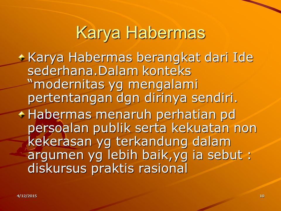 """Karya Habermas Karya Habermas berangkat dari Ide sederhana.Dalam konteks """"modernitas yg mengalami pertentangan dgn dirinya sendiri. Habermas menaruh p"""