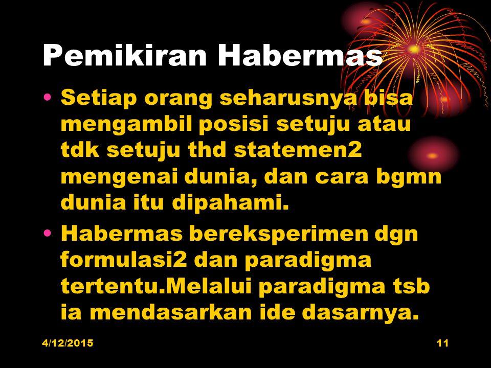 Pemikiran Habermas Setiap orang seharusnya bisa mengambil posisi setuju atau tdk setuju thd statemen2 mengenai dunia, dan cara bgmn dunia itu dipahami