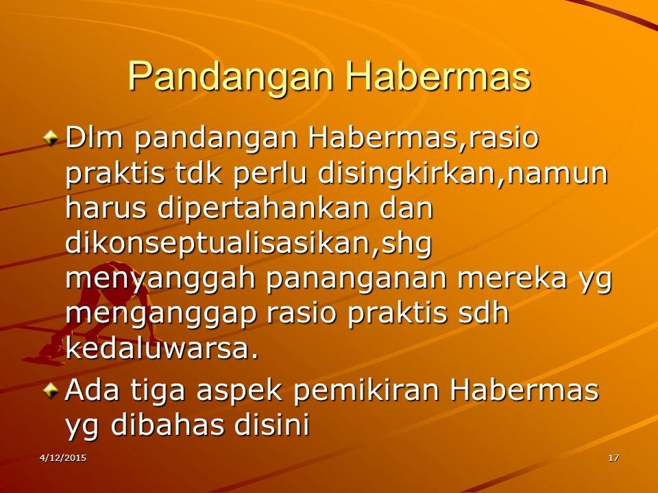 Pandangan Habermas Dlm pandangan Habermas,rasio praktis tdk perlu disingkirkan,namun harus dipertahankan dan dikonseptualisasikan,shg menyanggah panan