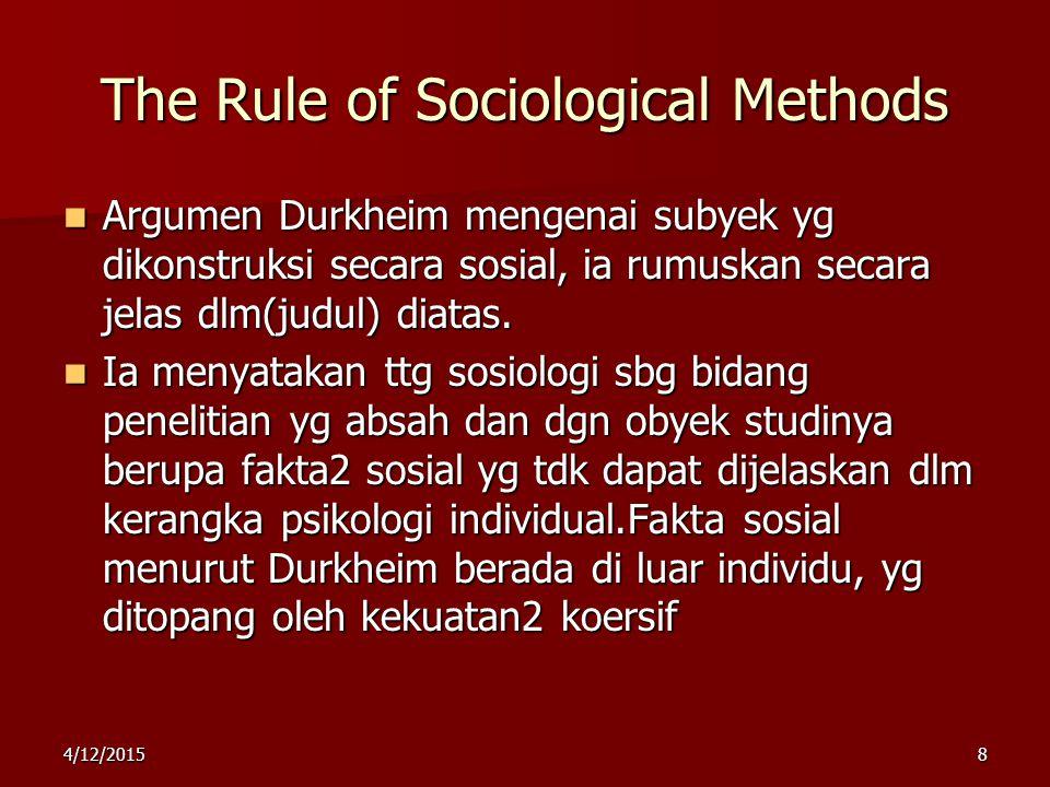 The Rule of Sociological Methods Argumen Durkheim mengenai subyek yg dikonstruksi secara sosial, ia rumuskan secara jelas dlm(judul) diatas. Argumen D