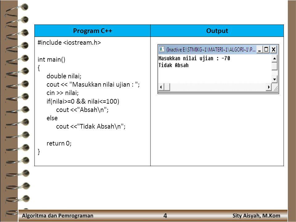 15 if (Nilai ≥ 40) and (Nilai < 55) then indeks ← 'D' else indeks ← 'E' endif write(indeks) End Algoritma Buatlah program C nya .