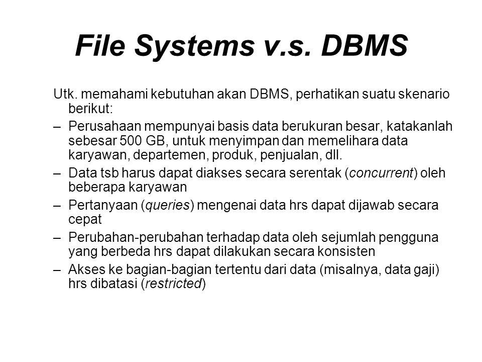 File Systems v.s.DBMS Utk.