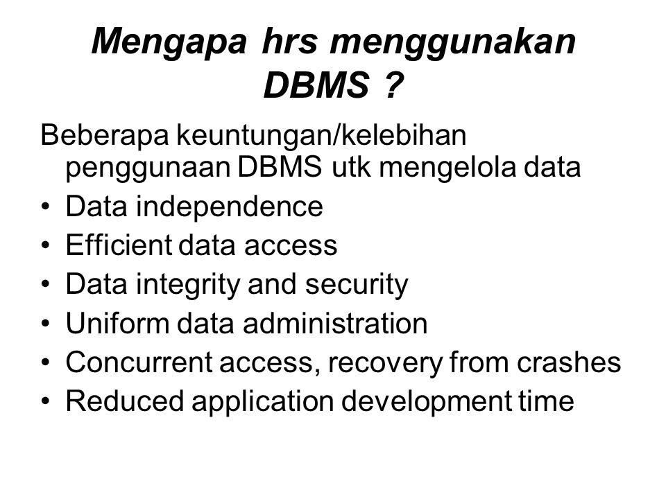 Mengapa hrs menggunakan DBMS .