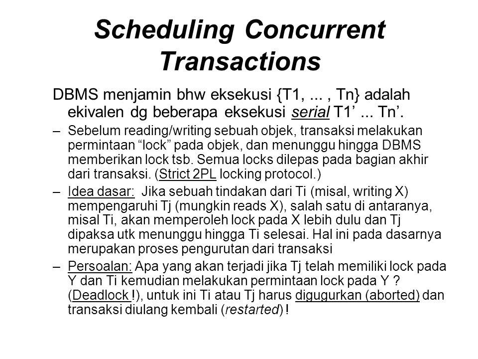 Scheduling Concurrent Transactions DBMS menjamin bhw eksekusi {T1,..., Tn} adalah ekivalen dg beberapa eksekusi serial T1'...