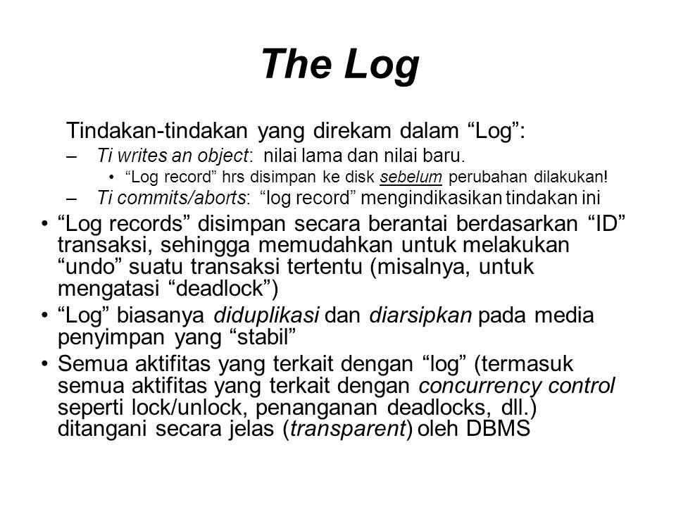 The Log Tindakan-tindakan yang direkam dalam Log : –Ti writes an object: nilai lama dan nilai baru.