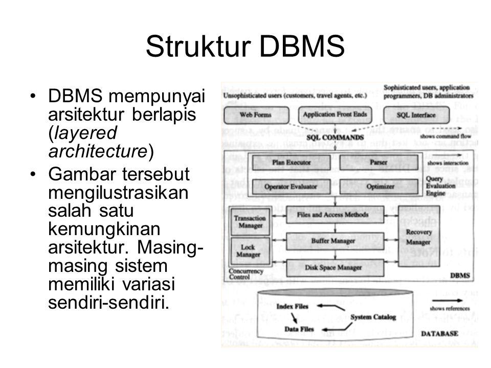 Struktur DBMS DBMS mempunyai arsitektur berlapis (layered architecture) Gambar tersebut mengilustrasikan salah satu kemungkinan arsitektur.