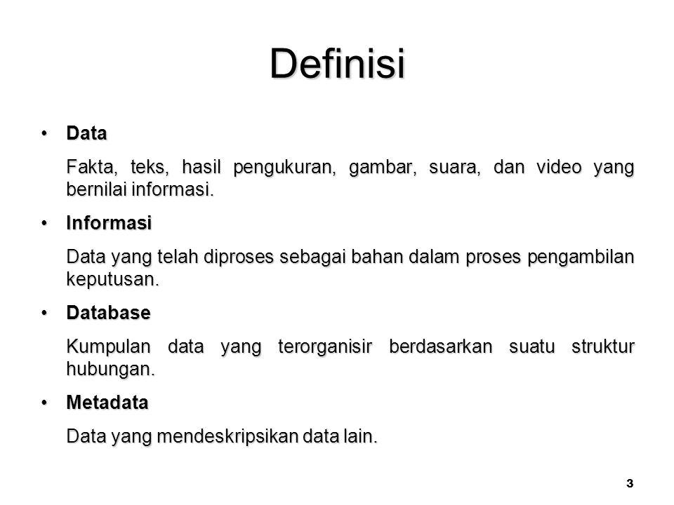 3 Definisi DataData Fakta, teks, hasil pengukuran, gambar, suara, dan video yang bernilai informasi.