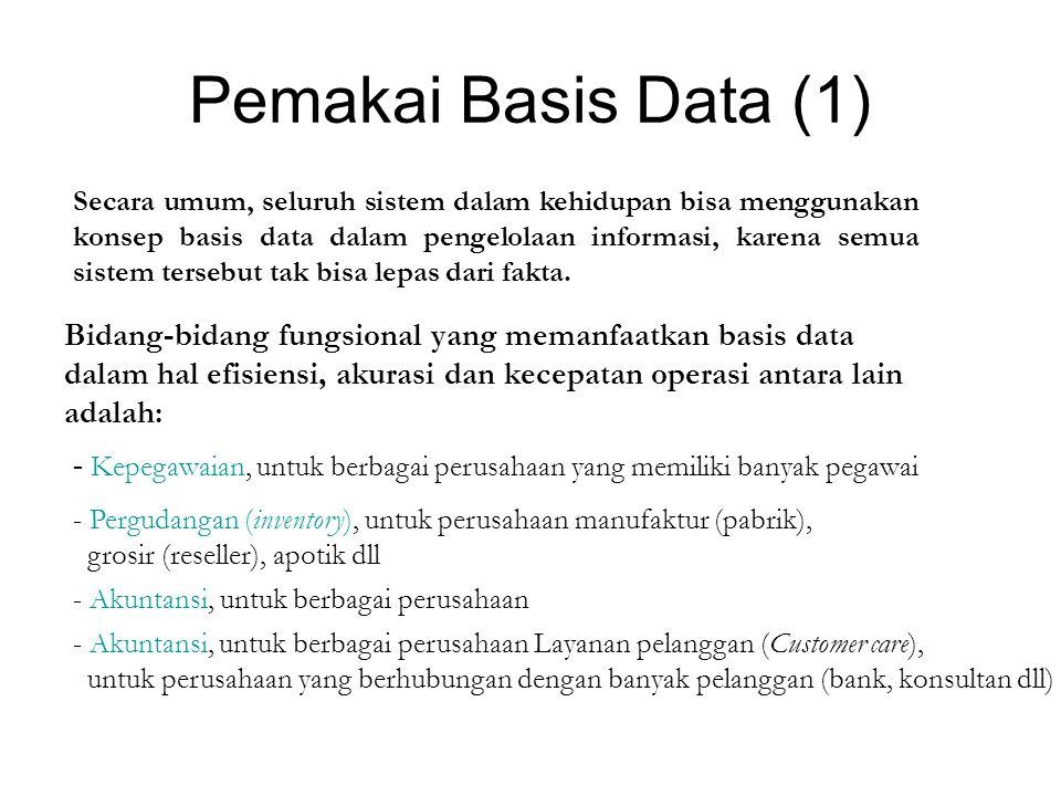 Pemakai Basis Data (1) Secara umum, seluruh sistem dalam kehidupan bisa menggunakan konsep basis data dalam pengelolaan informasi, karena semua sistem tersebut tak bisa lepas dari fakta.