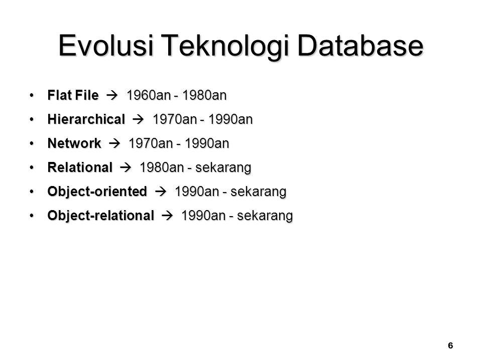 6 Evolusi Teknologi Database Flat File  1960an - 1980anFlat File  1960an - 1980an Hierarchical  1970an - 1990anHierarchical  1970an - 1990an Network  1970an - 1990anNetwork  1970an - 1990an Relational  1980an - sekarangRelational  1980an - sekarang Object-oriented  1990an - sekarangObject-oriented  1990an - sekarang Object-relational  1990an - sekarangObject-relational  1990an - sekarang