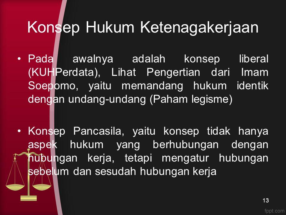 Konsep Hukum Ketenagakerjaan Pada awalnya adalah konsep liberal (KUHPerdata), Lihat Pengertian dari Imam Soepomo, yaitu memandang hukum identik dengan