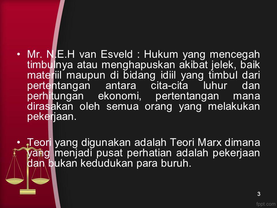 Mr. N.E.H van Esveld : Hukum yang mencegah timbulnya atau menghapuskan akibat jelek, baik materiil maupun di bidang idiil yang timbul dari pertentanga
