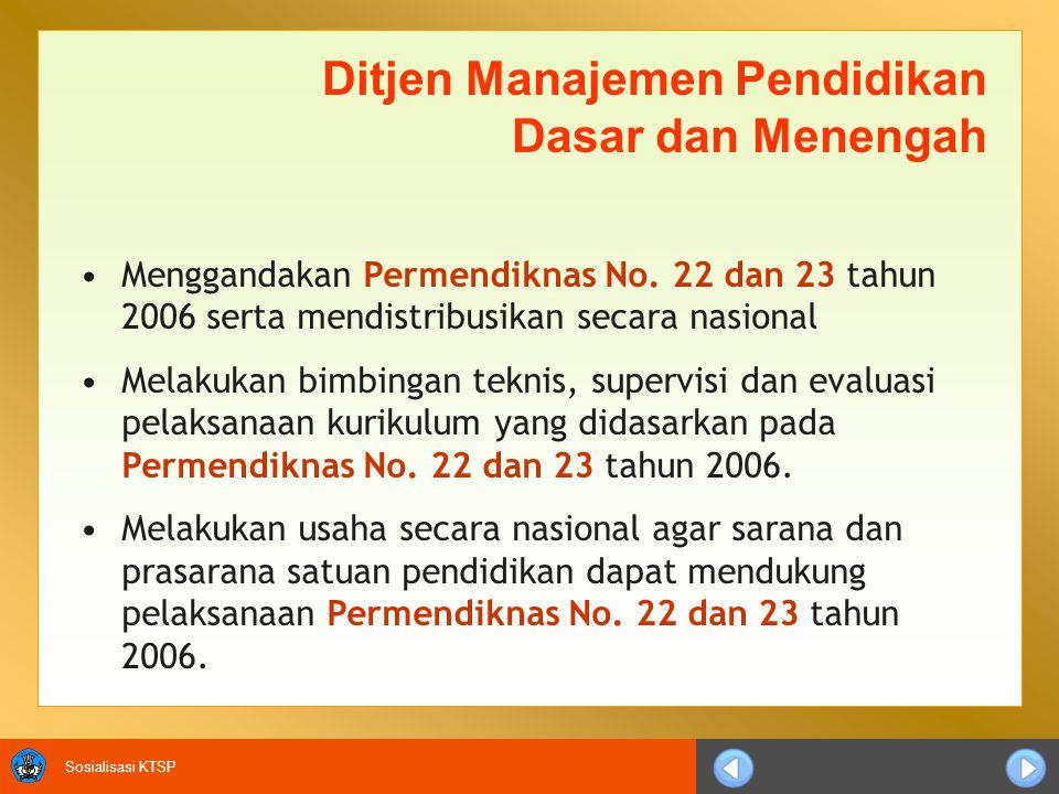 Sosialisasi KTSP Ditjen Manajemen Pendidikan Dasar dan Menengah Menggandakan Permendiknas No. 22 dan 23 tahun 2006 serta mendistribusikan secara nasio