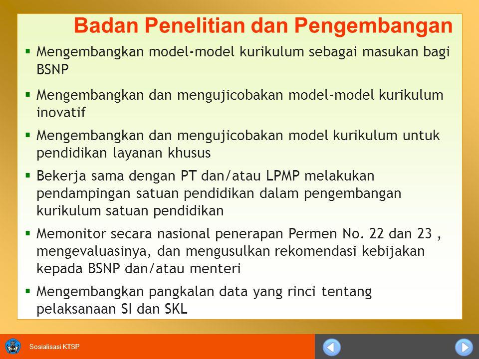 Sosialisasi KTSP Badan Penelitian dan Pengembangan  Mengembangkan model-model kurikulum sebagai masukan bagi BSNP  Mengembangkan dan mengujicobakan