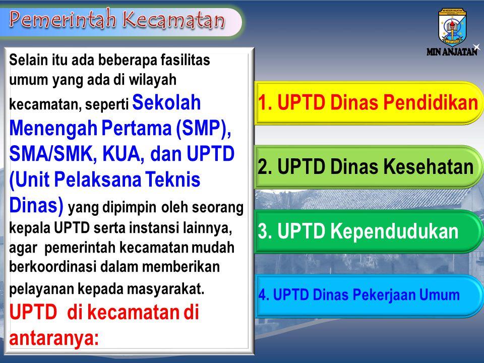 Selain itu ada beberapa fasilitas umum yang ada di wilayah kecamatan, seperti Sekolah Menengah Pertama (SMP), SMA/SMK, KUA, dan UPTD (Unit Pelaksana T