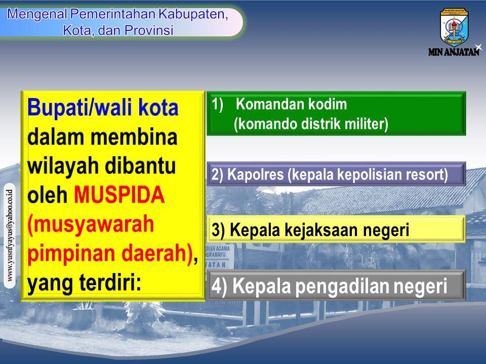 1)Komandan kodim (komando distrik militer) 2) Kapolres (kepala kepolisian resort) 3) Kepala kejaksaan negeri 4) Kepala pengadilan negeri