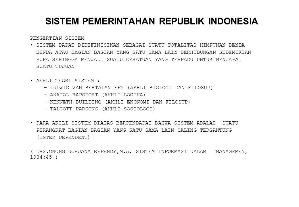 SISTEM PEMERINTAHAN REPUBLIK INDONESIA PENGERTIAN SISTEM SISTEM DAPAT DIDEFINISIKAN SEBAGAI SUATU TOTALITAS HIMPUNAN BENDA- BENDA ATAU BAGIAN-BAGIAN Y