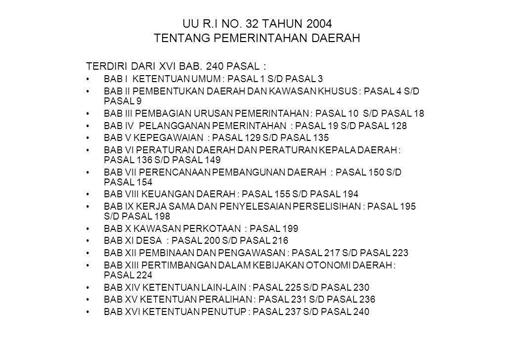 UU R.I NO. 32 TAHUN 2004 TENTANG PEMERINTAHAN DAERAH TERDIRI DARI XVI BAB. 240 PASAL : BAB I KETENTUAN UMUM : PASAL 1 S/D PASAL 3 BAB II PEMBENTUKAN D