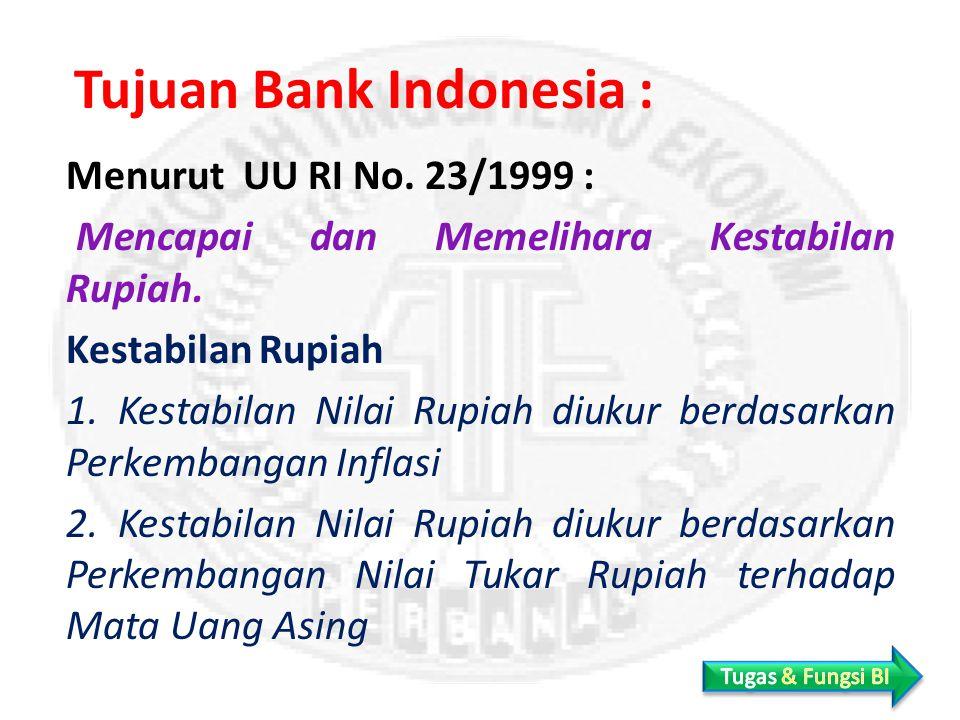 Tujuan Bank Indonesia : Menurut UU RI No.23/1999 : Mencapai dan Memelihara Kestabilan Rupiah.