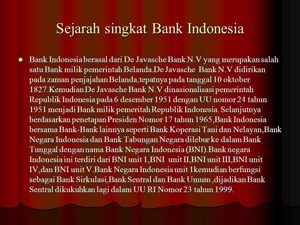 Sejarah singkat Bank Indonesia Bank Indonesia berasal dari De Javasche Bank N.V yang merupakan salah satu Bank milik pemerintah Belanda.De Javasche Ba