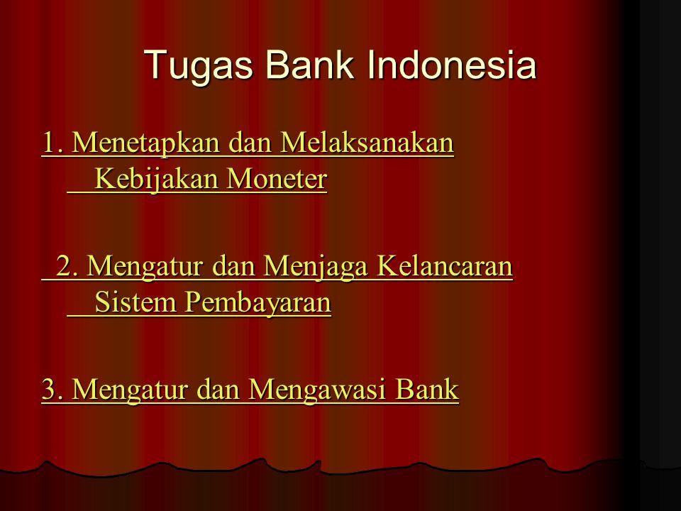 Tugas Bank Indonesia 1. Menetapkan dan Melaksanakan Kebijakan Moneter 1. Menetapkan dan Melaksanakan Kebijakan Moneter 2. Mengatur dan Menjaga Kelanca