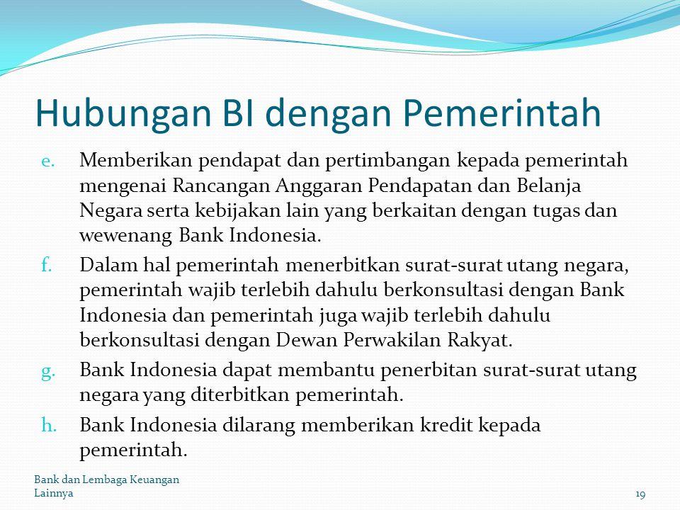 Hubungan BI dengan Pemerintah e. Memberikan pendapat dan pertimbangan kepada pemerintah mengenai Rancangan Anggaran Pendapatan dan Belanja Negara sert