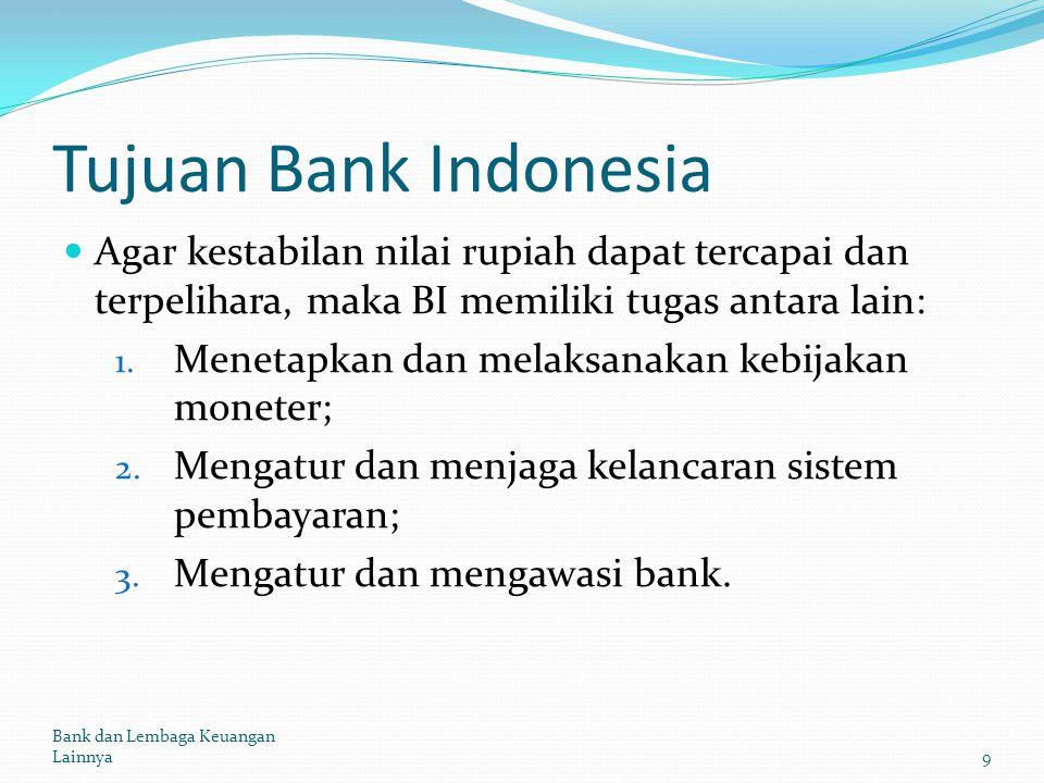Tujuan Bank Indonesia Agar kestabilan nilai rupiah dapat tercapai dan terpelihara, maka BI memiliki tugas antara lain: 1. Menetapkan dan melaksanakan