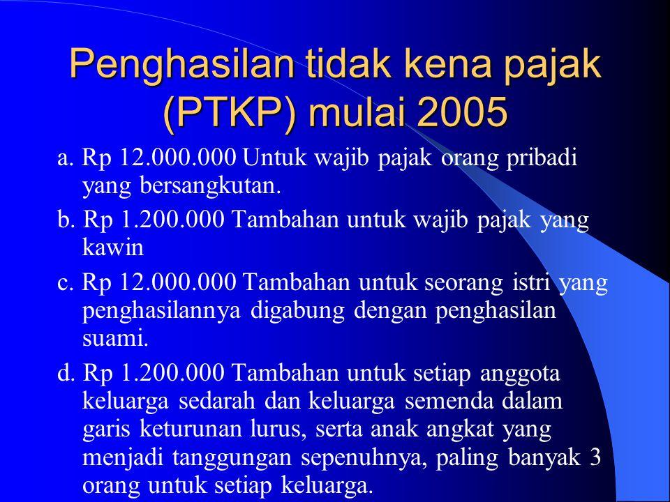 Penghasilan tidak kena pajak (PTKP) mulai 2005 a. Rp 12.000.000 Untuk wajib pajak orang pribadi yang bersangkutan. b. Rp 1.200.000 Tambahan untuk waji