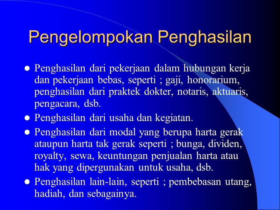 Pengelompokan Penghasilan Penghasilan dari pekerjaan dalam hubungan kerja dan pekerjaan bebas, seperti ; gaji, honorarium, penghasilan dari praktek do