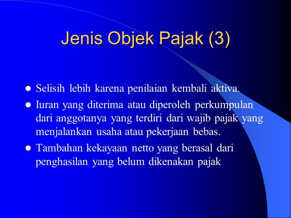 Jenis Objek Pajak (3) Selisih lebih karena penilaian kembali aktiva. Iuran yang diterima atau diperoleh perkumpulan dari anggotanya yang terdiri dari