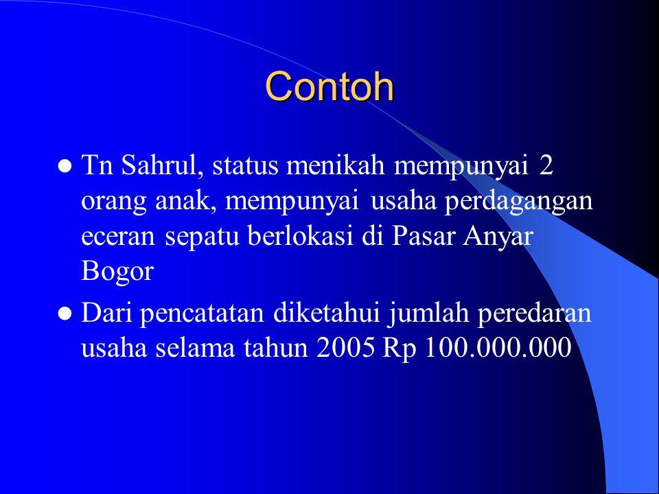 Contoh Tn Sahrul, status menikah mempunyai 2 orang anak, mempunyai usaha perdagangan eceran sepatu berlokasi di Pasar Anyar Bogor Dari pencatatan dike