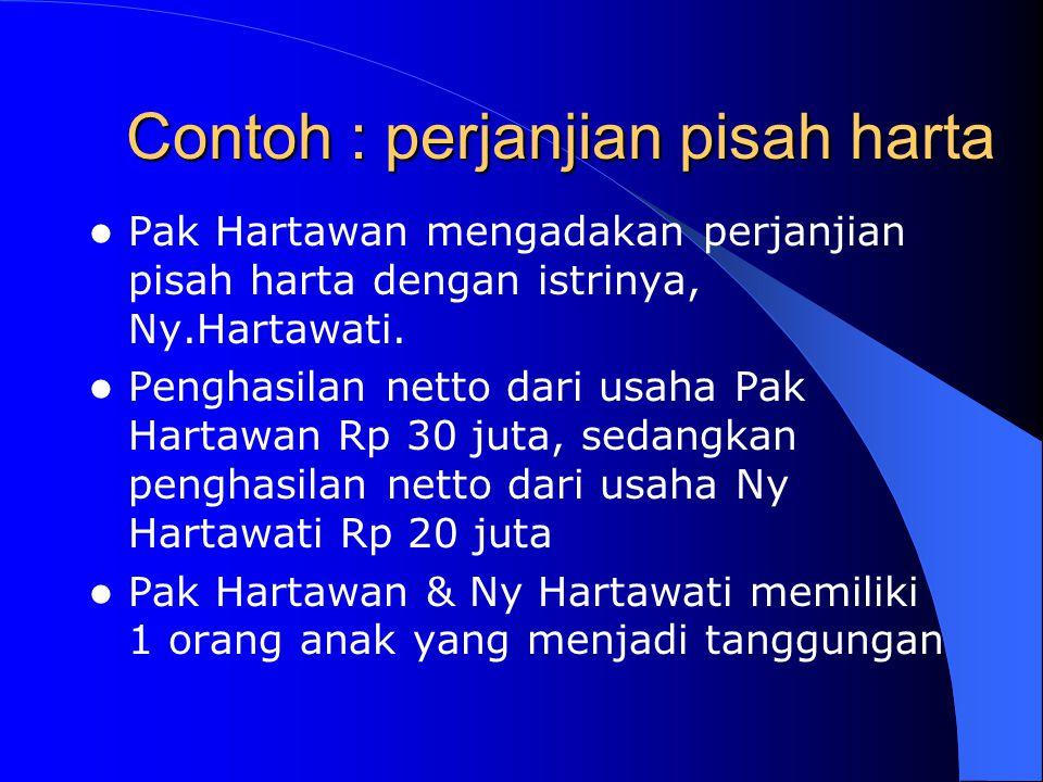 Contoh : perjanjian pisah harta Pak Hartawan mengadakan perjanjian pisah harta dengan istrinya, Ny.Hartawati. Penghasilan netto dari usaha Pak Hartawa