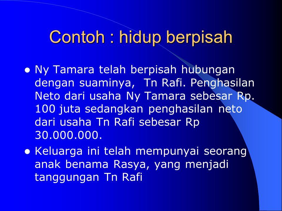Contoh : hidup berpisah Ny Tamara telah berpisah hubungan dengan suaminya, Tn Rafi. Penghasilan Neto dari usaha Ny Tamara sebesar Rp. 100 juta sedangk