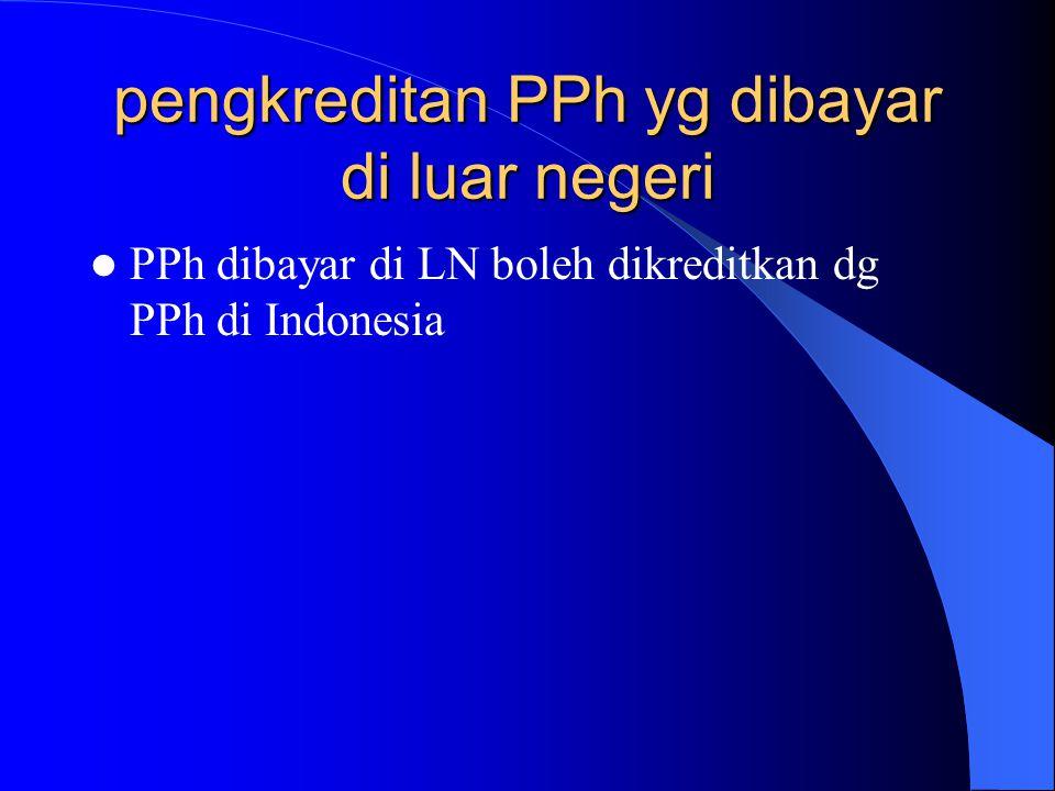 pengkreditan PPh yg dibayar di luar negeri PPh dibayar di LN boleh dikreditkan dg PPh di Indonesia