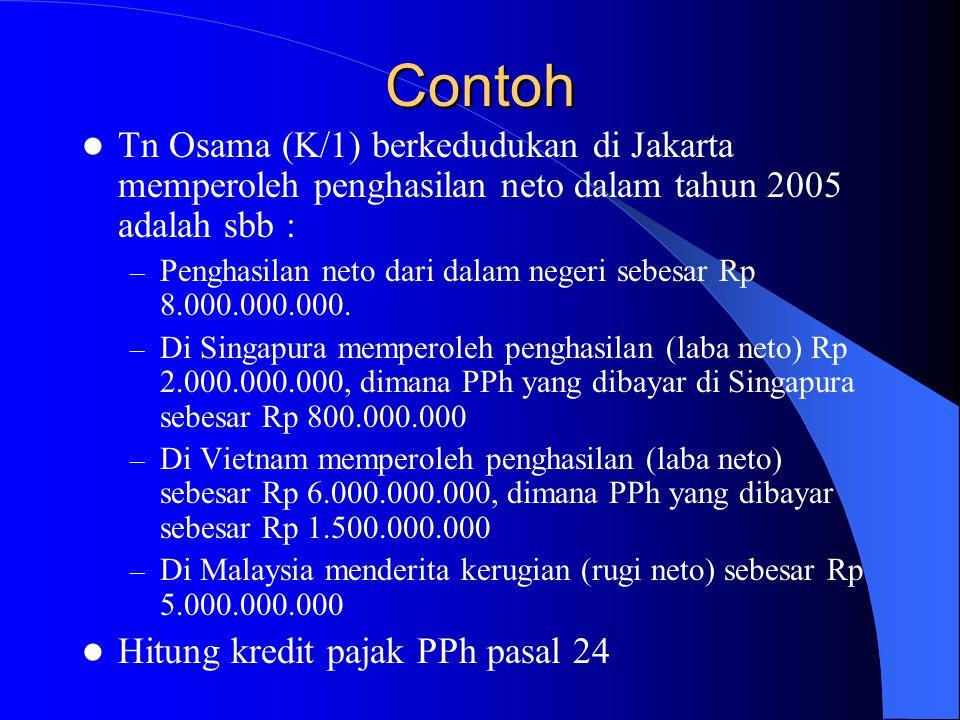 Contoh Tn Osama (K/1) berkedudukan di Jakarta memperoleh penghasilan neto dalam tahun 2005 adalah sbb : – Penghasilan neto dari dalam negeri sebesar R