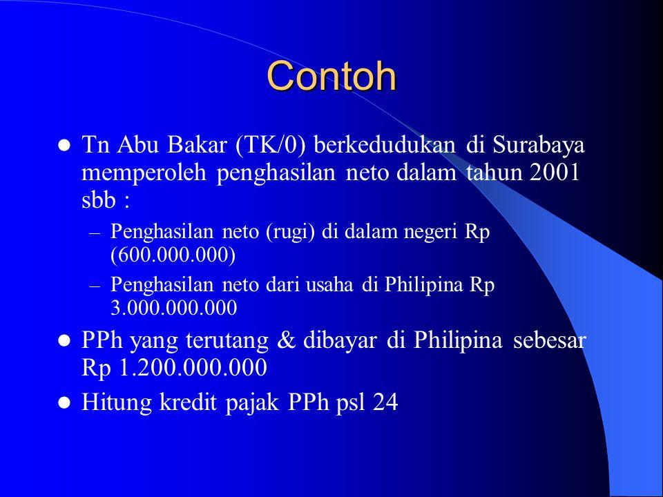 Contoh Tn Abu Bakar (TK/0) berkedudukan di Surabaya memperoleh penghasilan neto dalam tahun 2001 sbb : – Penghasilan neto (rugi) di dalam negeri Rp (6