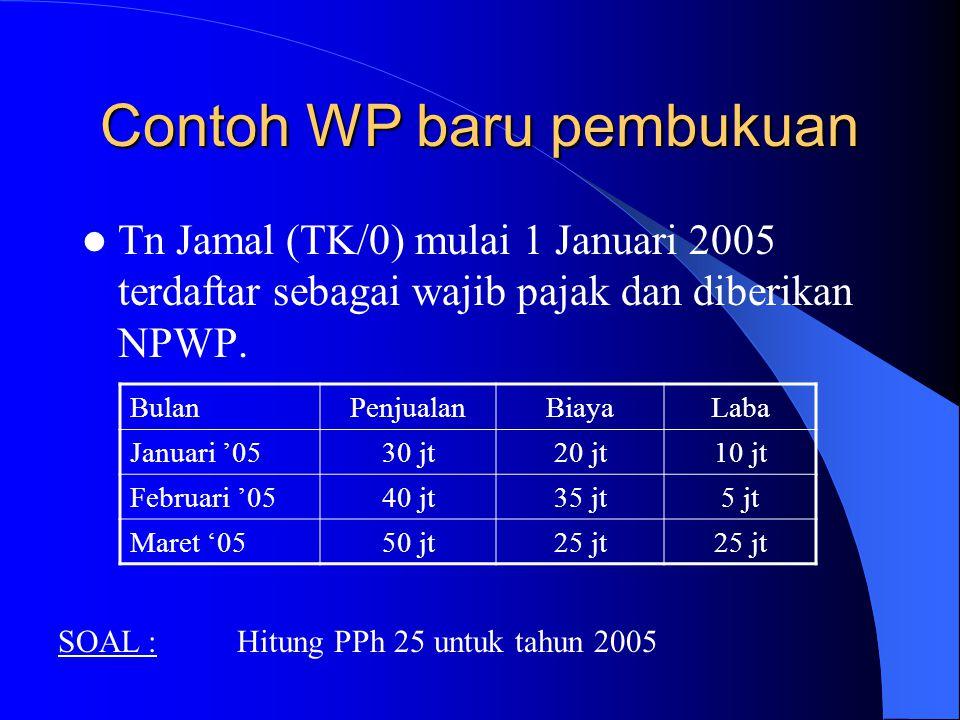 Contoh WP baru pembukuan Tn Jamal (TK/0) mulai 1 Januari 2005 terdaftar sebagai wajib pajak dan diberikan NPWP. BulanPenjualanBiayaLaba Januari '0530