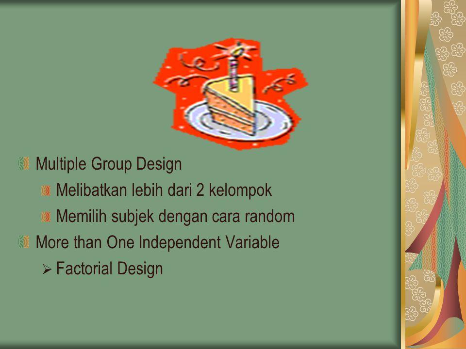 Multiple Group Design Melibatkan lebih dari 2 kelompok Memilih subjek dengan cara random More than One Independent Variable  Factorial Design