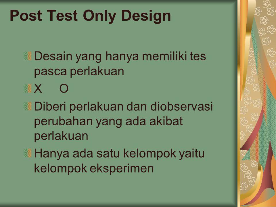 Post Test Only Design Desain yang hanya memiliki tes pasca perlakuan X O Diberi perlakuan dan diobservasi perubahan yang ada akibat perlakuan Hanya ada satu kelompok yaitu kelompok eksperimen