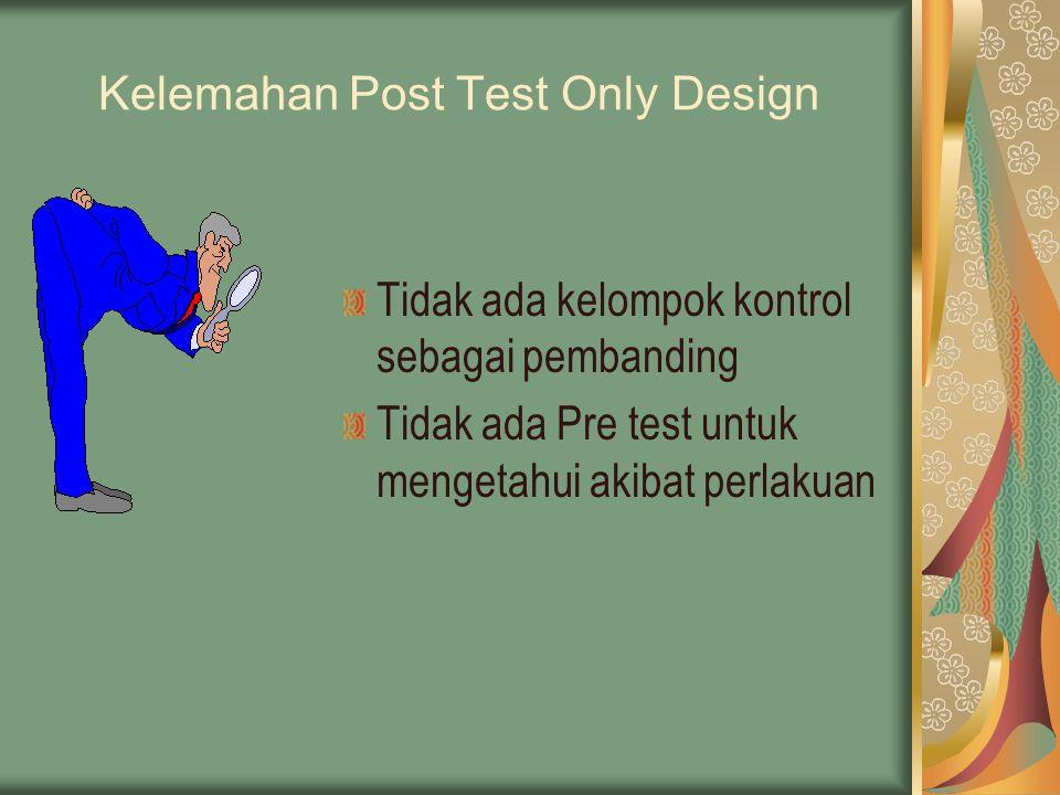 Kelemahan Post Test Only Design Tidak ada kelompok kontrol sebagai pembanding Tidak ada Pre test untuk mengetahui akibat perlakuan