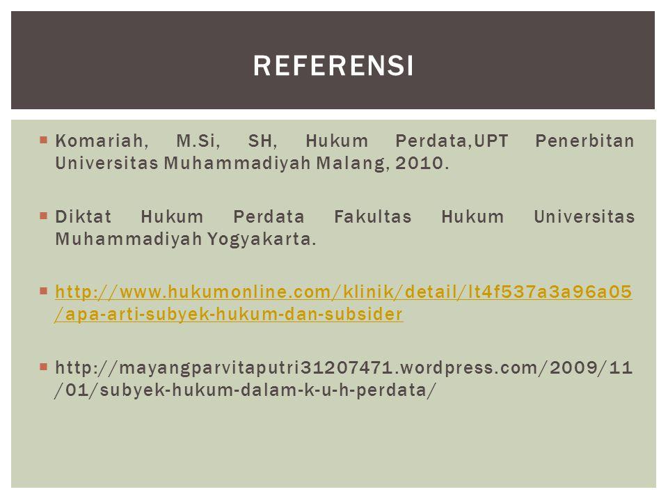  Komariah, M.Si, SH, Hukum Perdata,UPT Penerbitan Universitas Muhammadiyah Malang, 2010.  Diktat Hukum Perdata Fakultas Hukum Universitas Muhammadiy